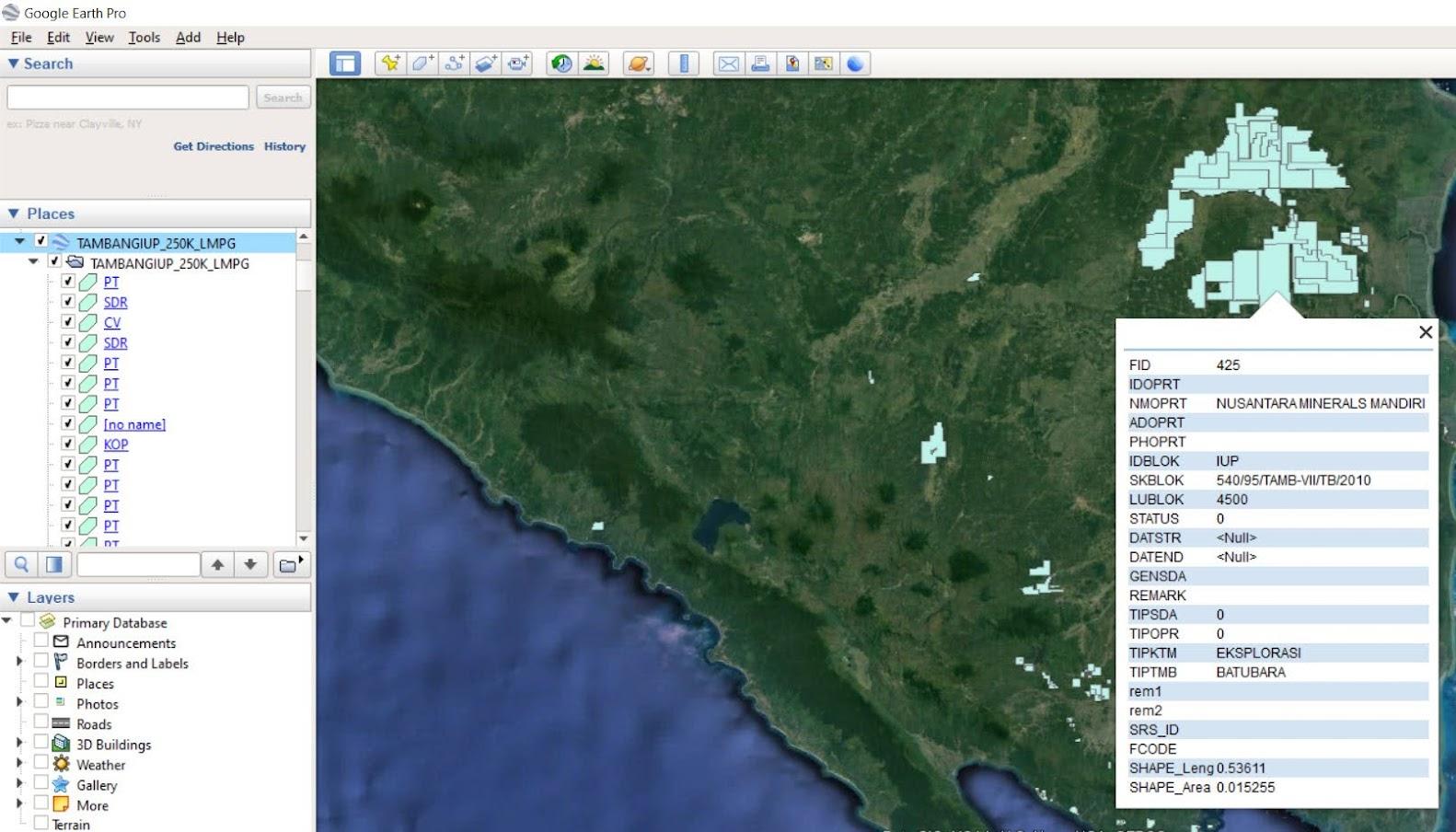 Field KMZ hasil query ArcGIS Rest Service terbaca secara utuh di Google Earth