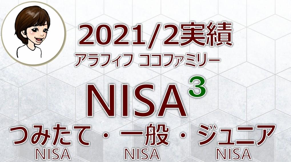 アラフィフ主婦ココファミリーの楽天証券のNISA口座2021年2月度実績