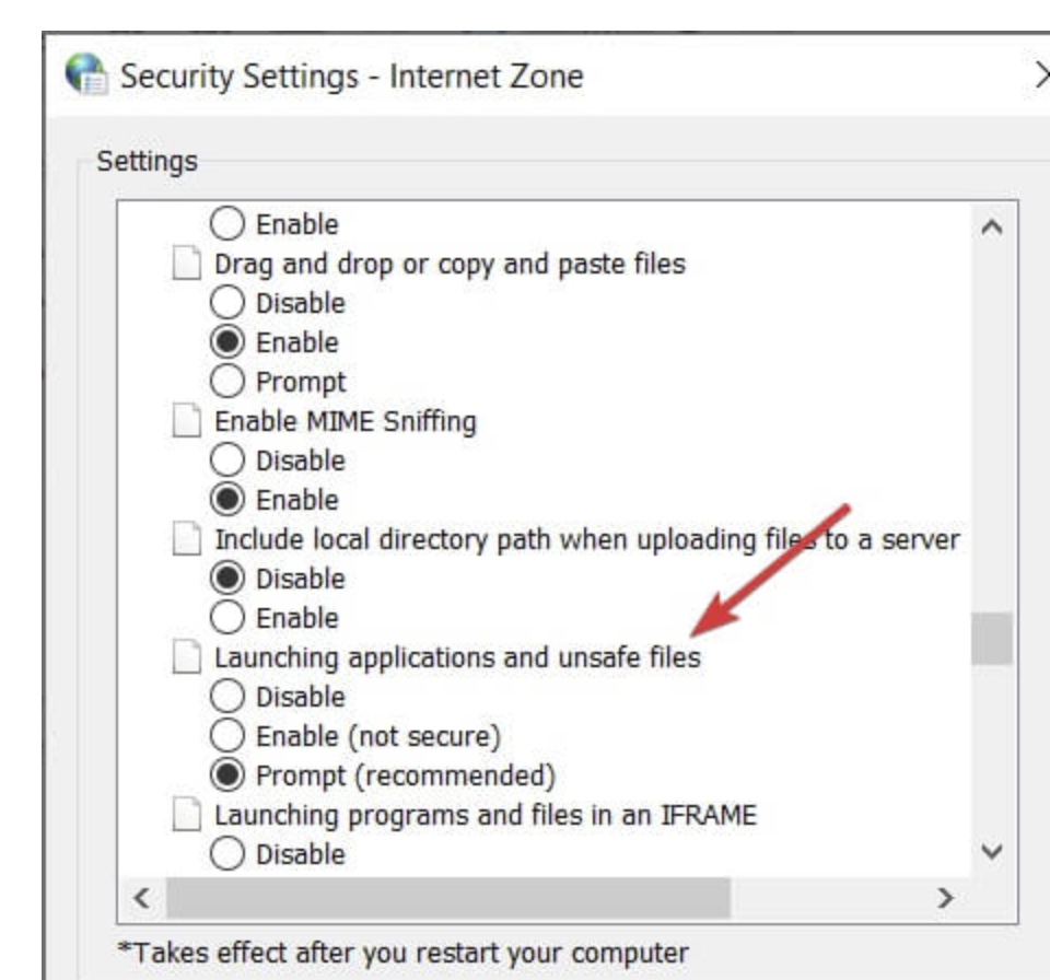 Enable Launching applications and unsafe files option
