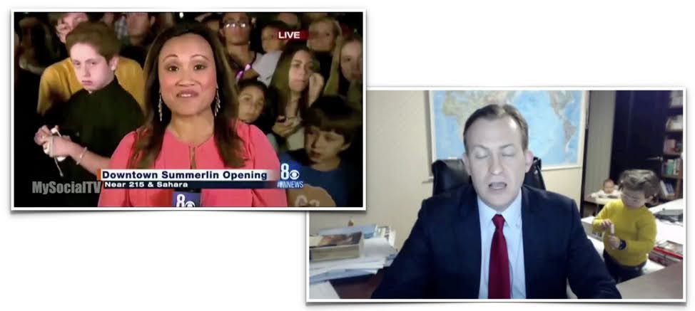 It's true that news channels will often feature a distracting background—like these examples in which a kid steals the focus away from the news anchor