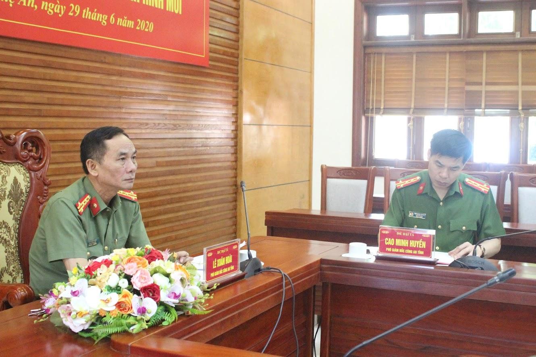 Lãnh đạo Công an tỉnh Nghệ An tham dự và chủ trì tại điểm cầu Nghệ An