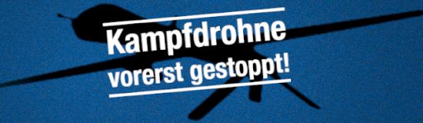 Drohnensilhouette, darüber: «Kampfdrohne vorerst gestoppt».