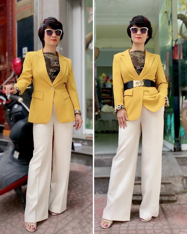 Áo vest nữ công sở màu vàng mix quần ống suông V741 thời trang thủy hải phòng 1