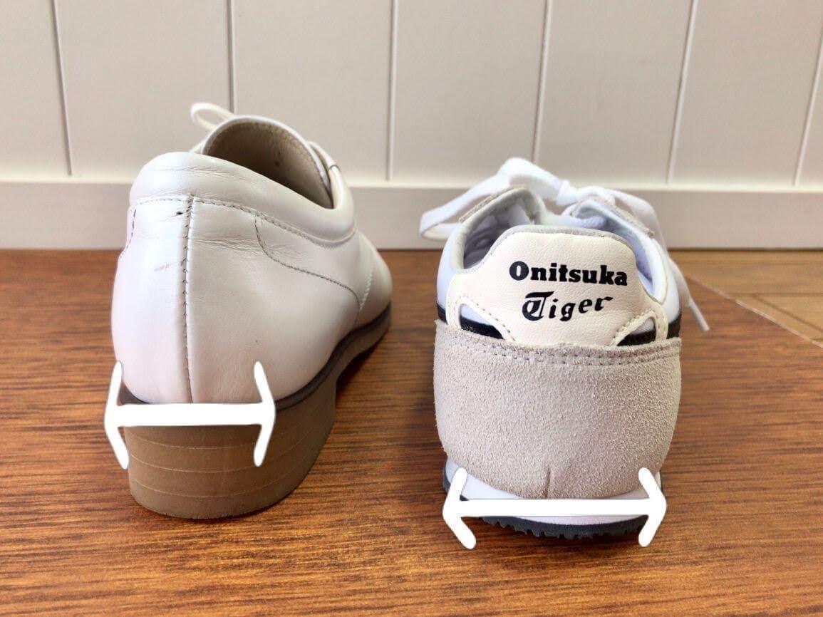 ワイズAの靴とセラーノのかかとを比較