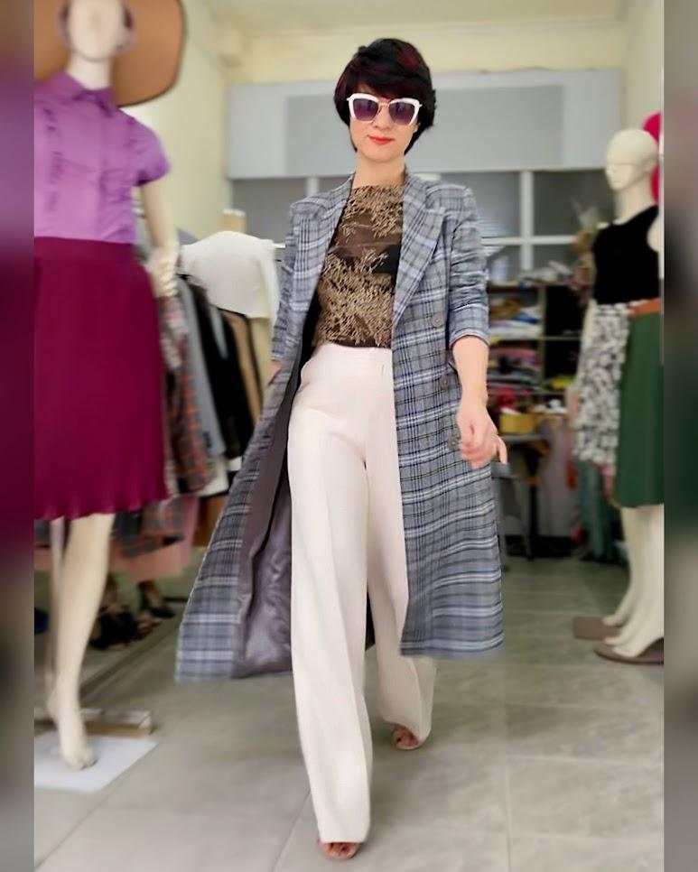 Áo khoác dạ nữ dáng dài kẻ caro mix quần ống suông V742 thời trang thủy sài gòn 2