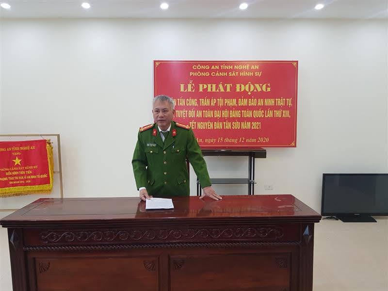 Đại tá Phạm Hoài Nam, Trưởng phòng Cảnh sát hình sự kêu gọi CBCS hoàn thành xuất sắc các chỉ tiêu đề ra trong đợt cao điểm