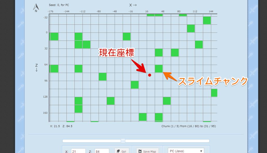 スライムチャンクが表示された画面
