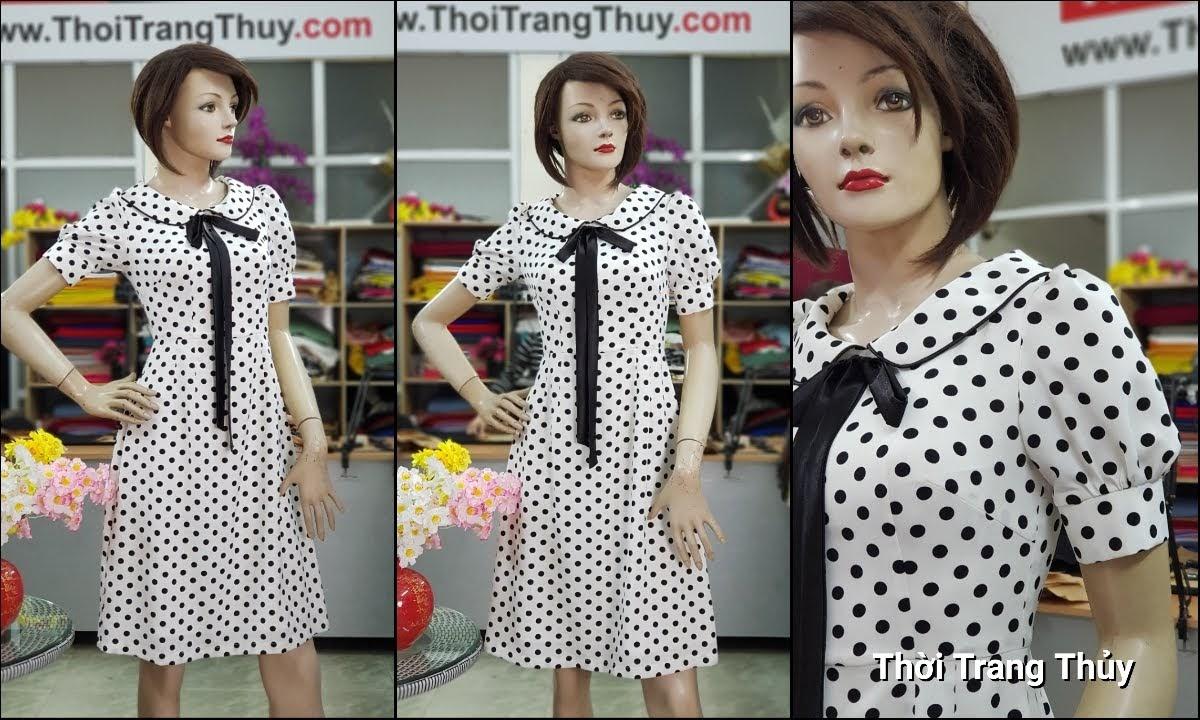 Váy xòe midi vải lụa chấm bi đen trắng dài qua gối V708 thời trang thủy