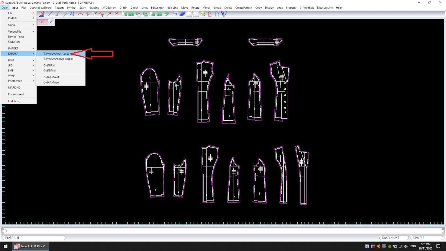 Cách Export Dxf Bộ Rập Pan Hoặc Pax Của Yuka SuperAlpha-Plus 10