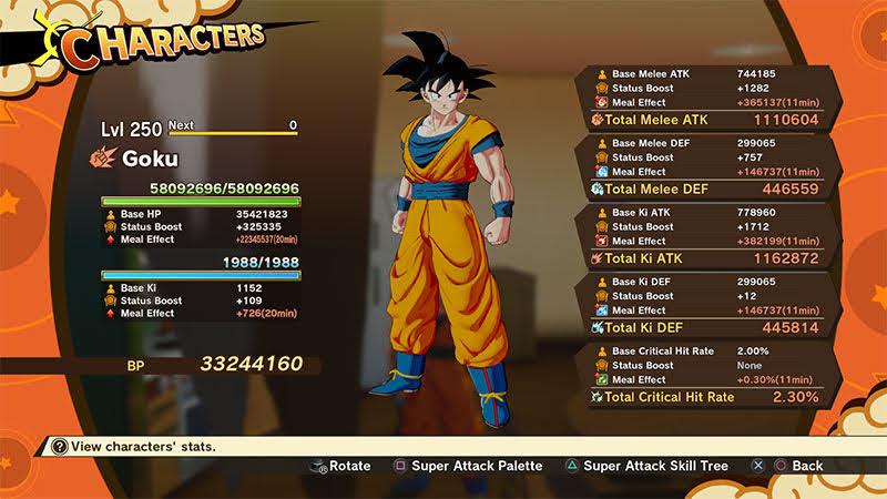 Chỉ số của Son Goku level max 250, được vợ Buff max.