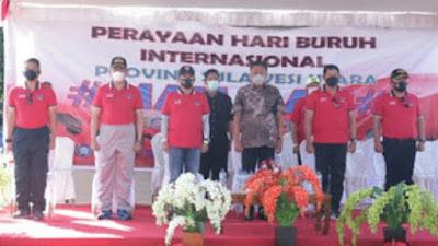 Peringatan Hari Buruh Internasional 2021, Pemerintah Sulut Bersama Aparat TNI-Polri Gelar Baksos