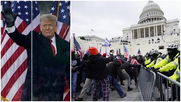 2 Fotos: Trump und Randalierer vor Kapitol.