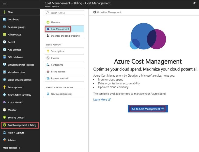 To set it up, go to the Azure Portal, select 'Cost Management + Billing' -> 'Cost Management' -> 'Go to Cost Management'.