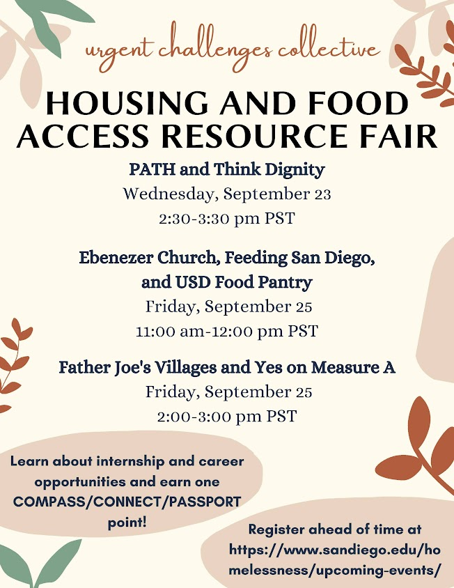 Housing and Food Access Resource Fair, Wednesday, Sept 23 - Friday, Sept 25
