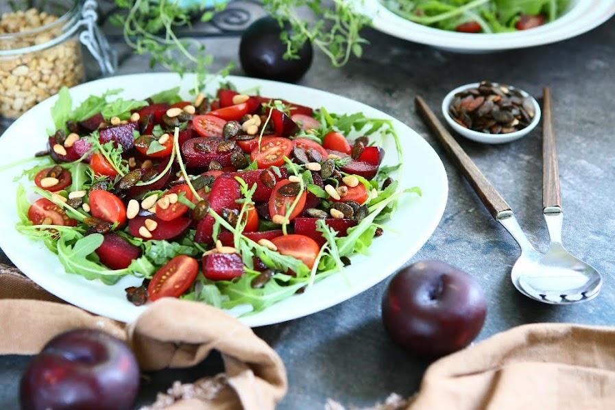 Plum Arugula Salad with Maple Curry Vinaigrette