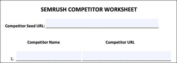Semrush Competitor Worksheet