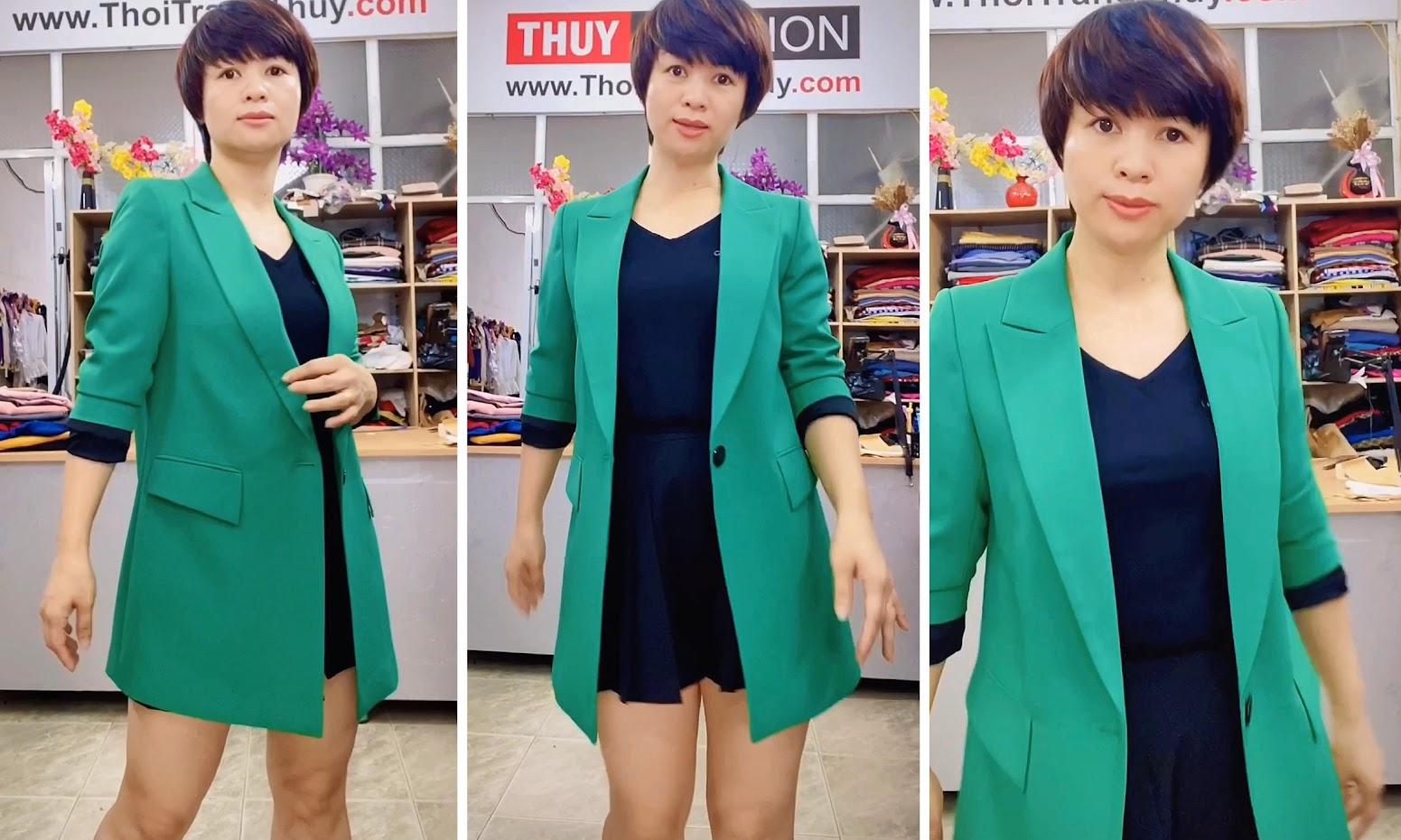 Áo vest nữ dáng dài suông màu xanh lá cây Thời Trang Thủy Hải Phòng