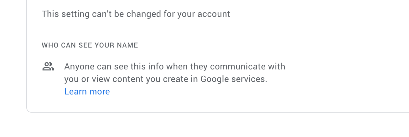 Error This setting can't be changed for your account promoted to stop you from changing your Gmail display name