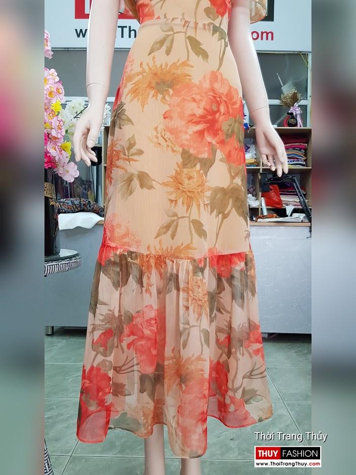 Đầm xòe maxi dáng dài mặc đi biển dự tiệc v716 thời trang thủy quảng ninh