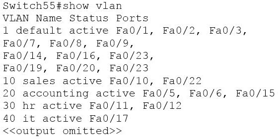 You execute the show vlan command and get the following output.
