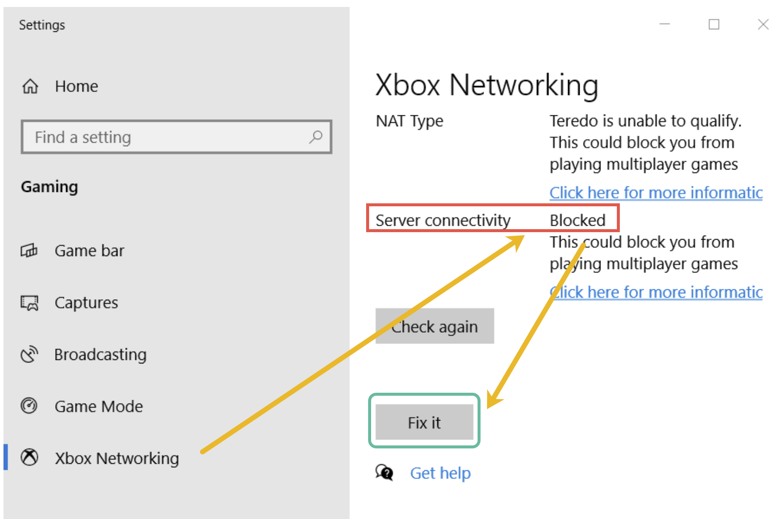 If the Server connectivity status shows as Blocked, then click on the Fix it button.