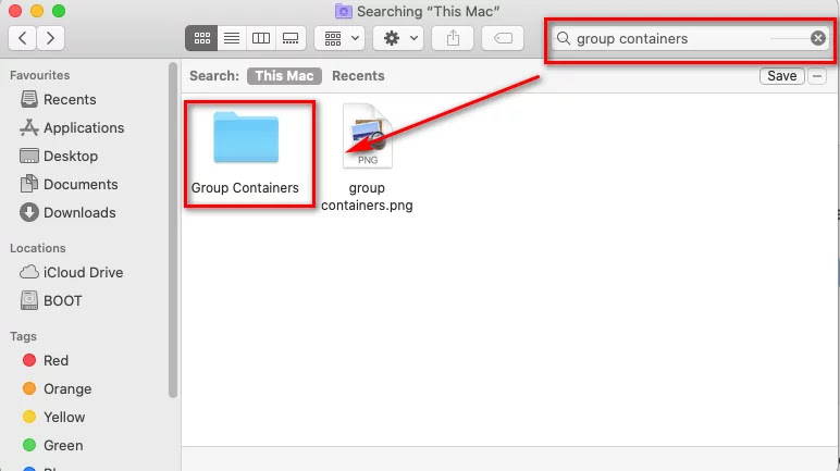 Use the search function to search for group containers, then press Return to retrieve the results.