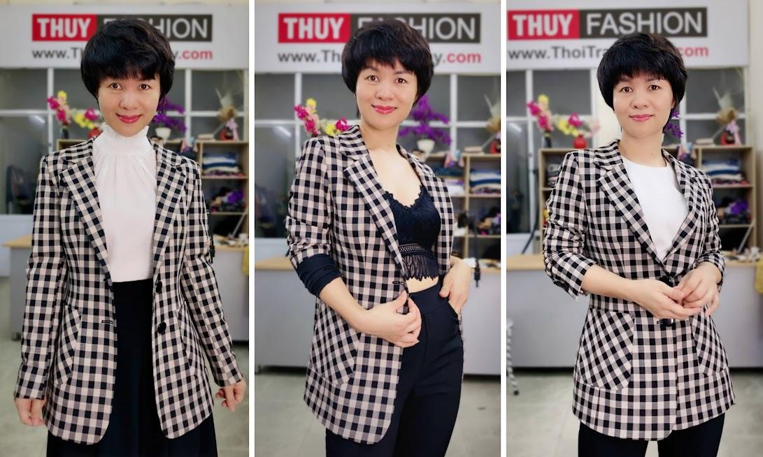 Áo vest nữ kẻ caro mix đồ quần ống vấy màu đen trắng V738 thời trang thủy hải phòng