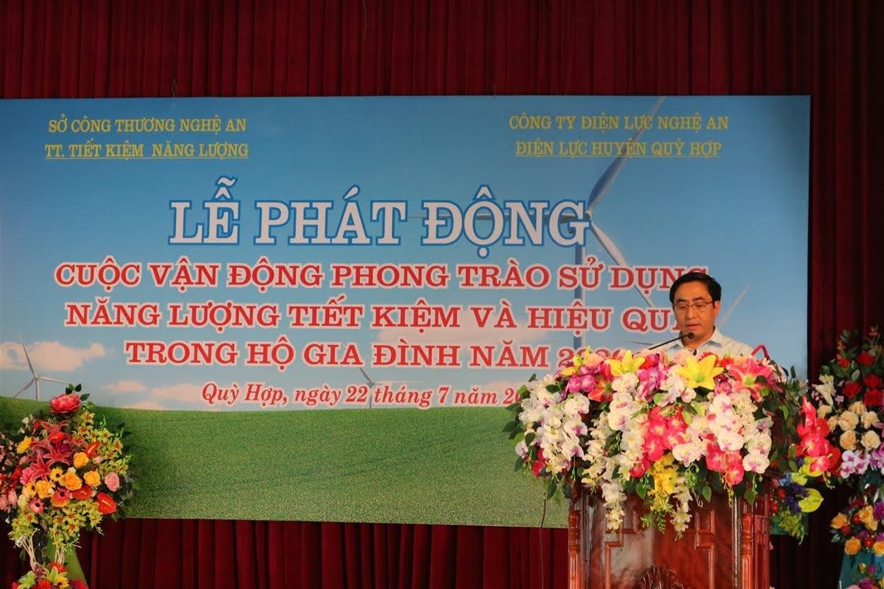 Ông Cao Minh Tú, Phó Giám đốc Sở Công Thương Nghệ An phát biểu tại buổi lễ