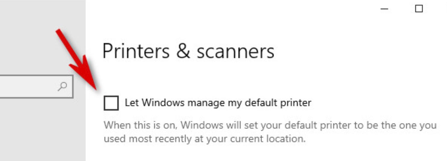 Uncheck Let Windows manage my default printer option.