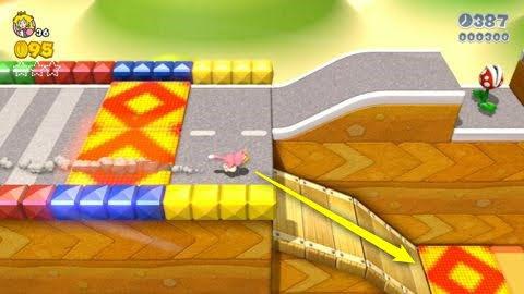 『スーパーマリオ3Dワールド』WORLD3-6「ダッシュレーシング」画面奥と手前の分かれ道
