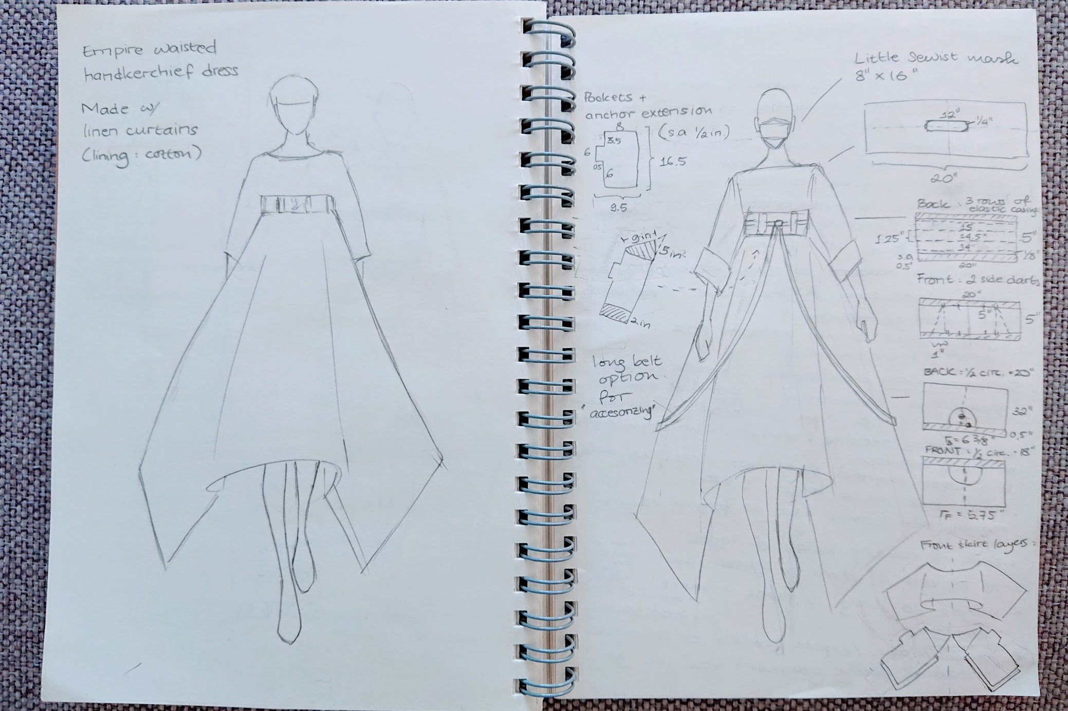 Final sketches of Handkerchief Dress | Handkerchief Dress - FAFAFOOM.COM