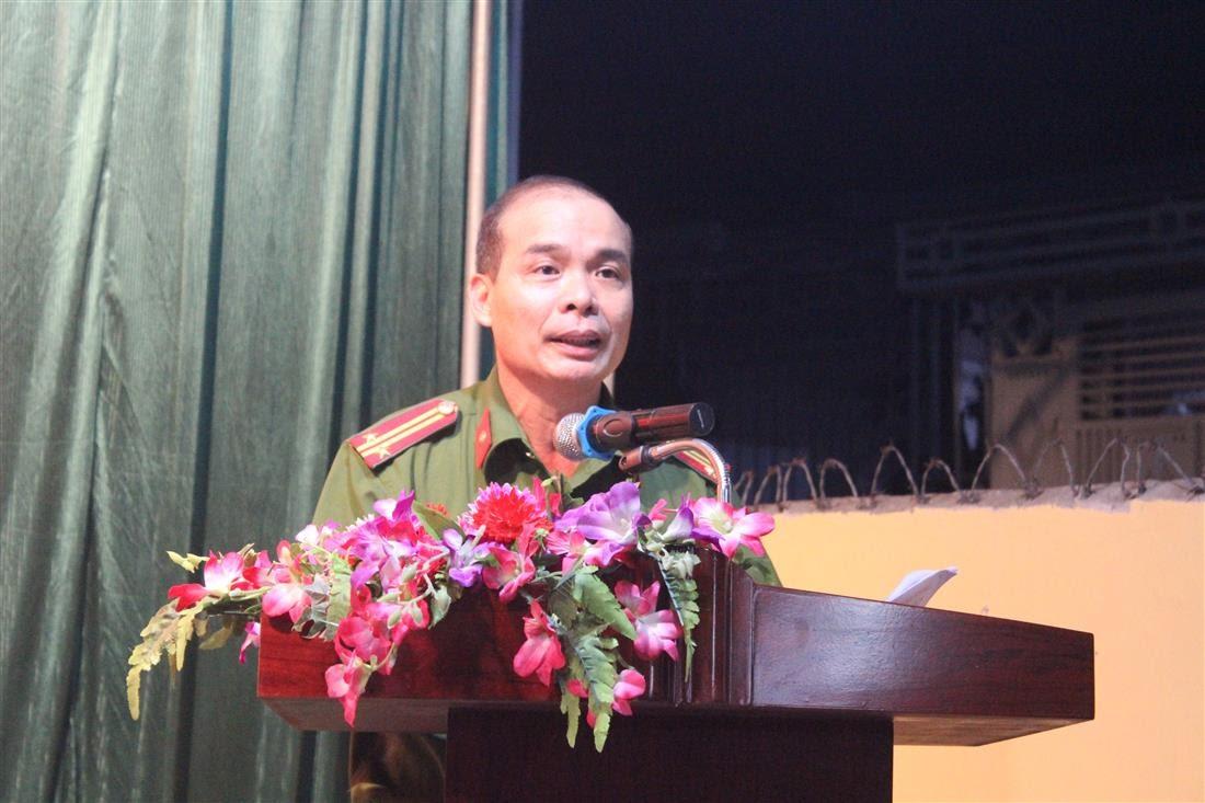 Trung tá Phan Văn Thanh, Trưởng Công an phường Cửa Nam báo cáo kết quả mà đơn vị đạt được trong thời gian qua