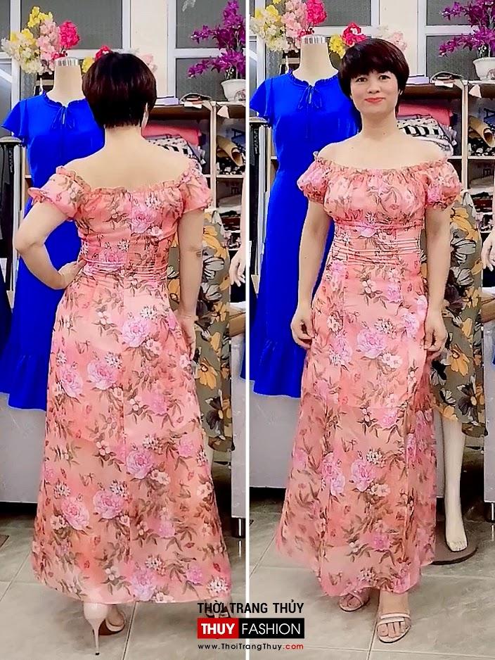 Váy maxi hoa mặc trễ vai đi biển dự tiệc V720 thời trang thủy quảng ninh