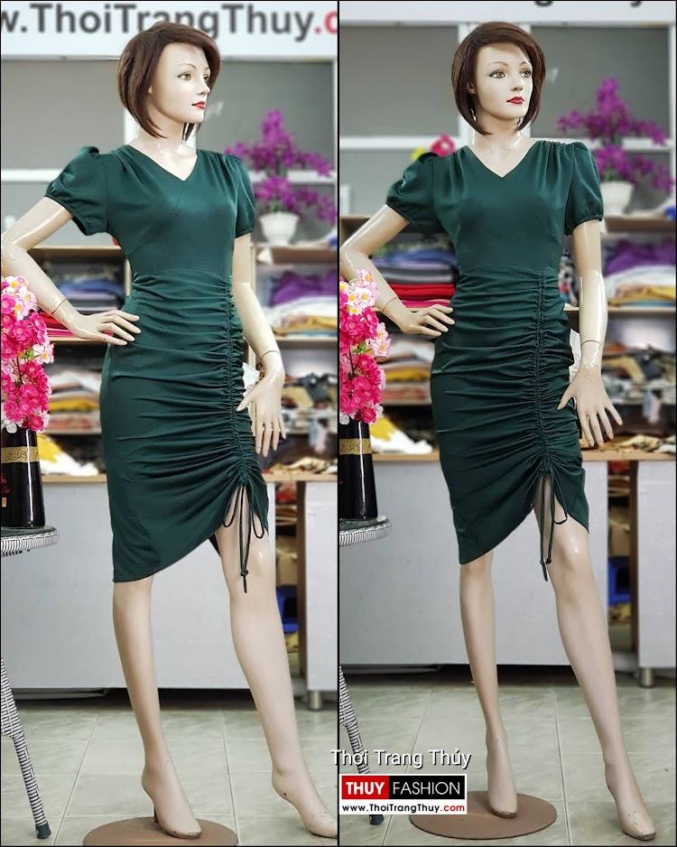 Váy dự tiệc dáng ôm body xếp nhún V721 thời trang thủy sài gòn