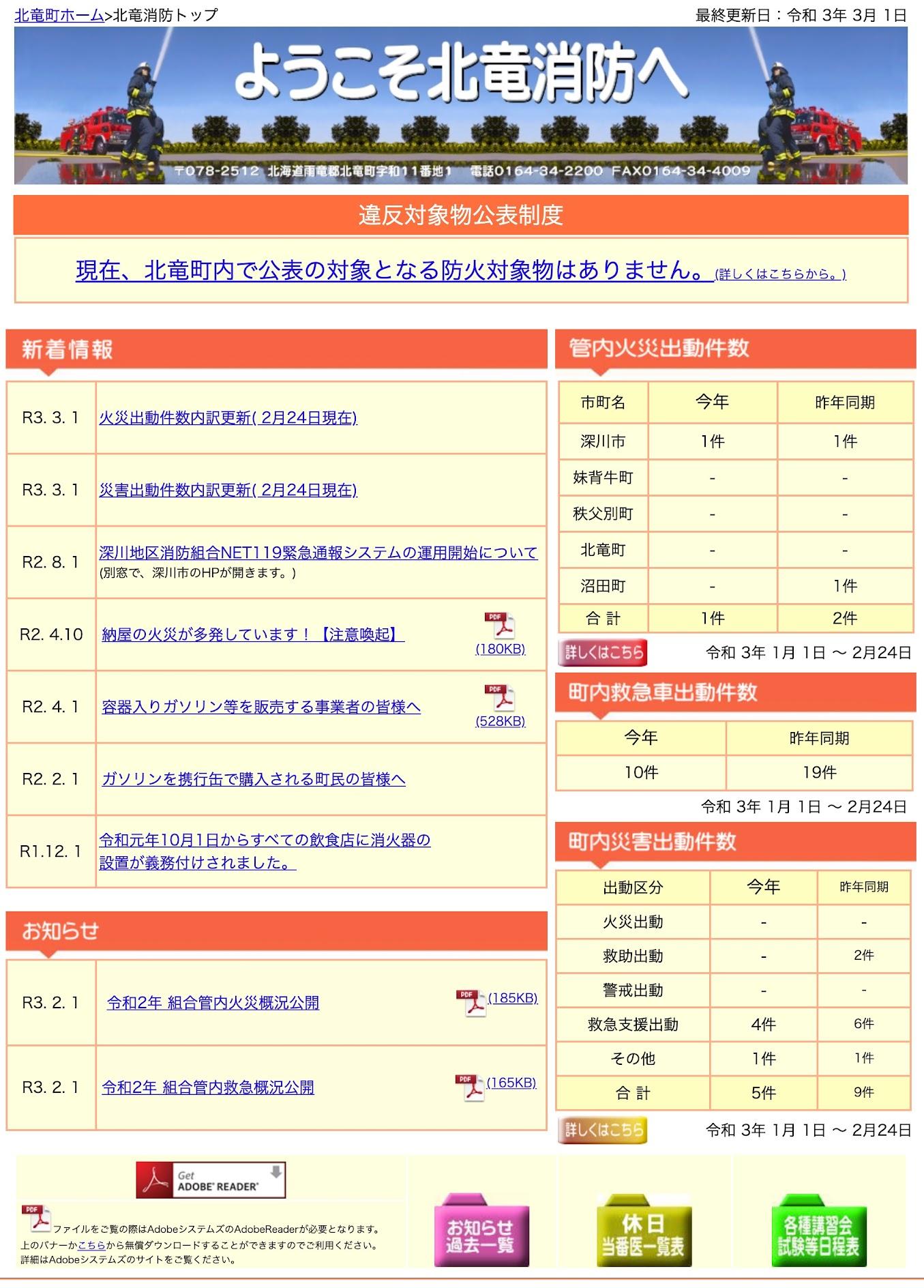 2021年1月分:火災・災害出動件数内訳更新【北竜消防】