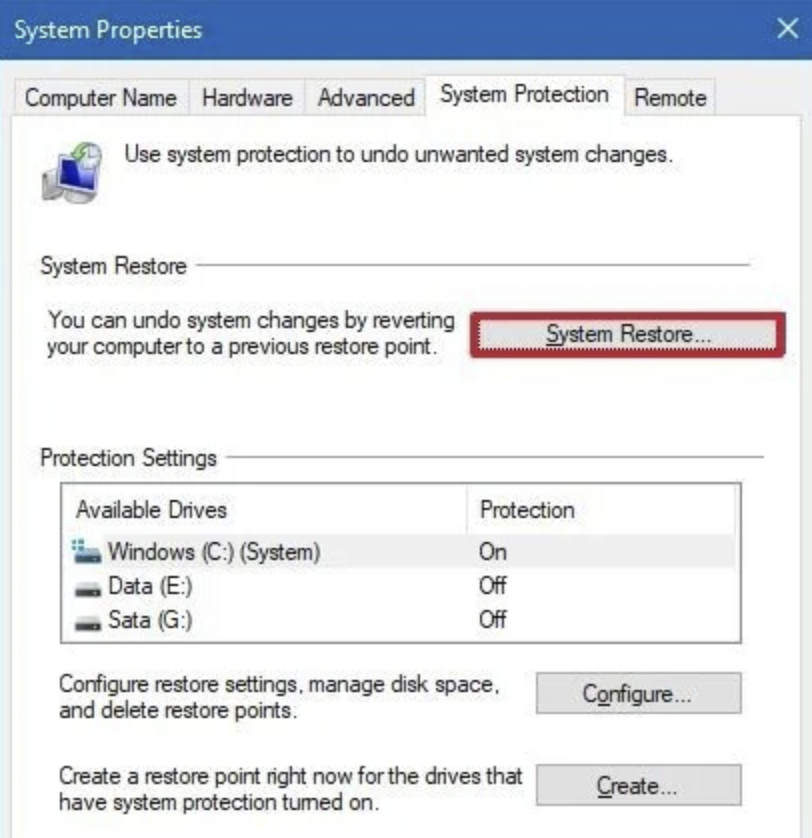 Click the System Restore button. If the System Restore button is grayed out, which means that is no system restore point available.