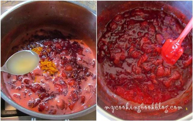 Ярко червен мармалад с ягоди, ябълка и портокал