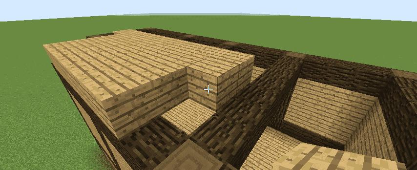 オークの木材を梁の上に設置しているところ