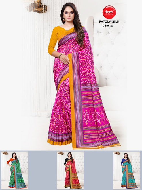 Apple Patola Silk Design No 27 Colour Chart Sarees Catalog Lowest Price