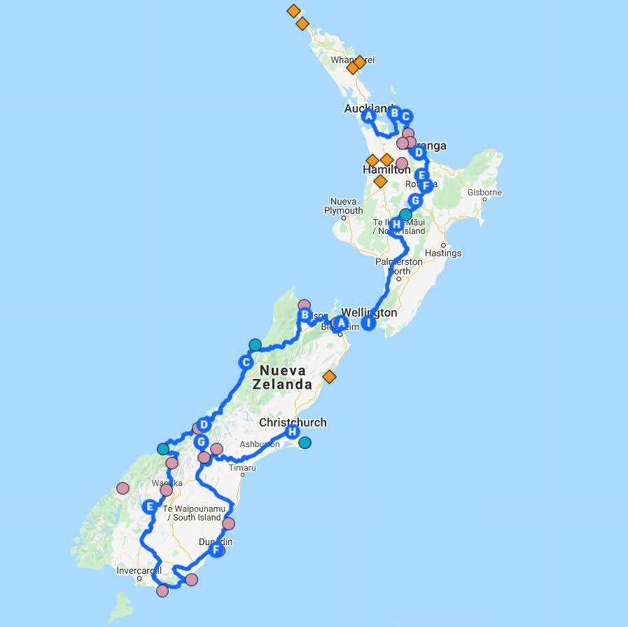 mapa ruta Nueva Zelanda