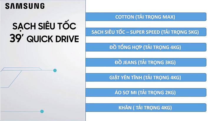 Lưu ý về trọng lượng giặt chế độ Quick Drive