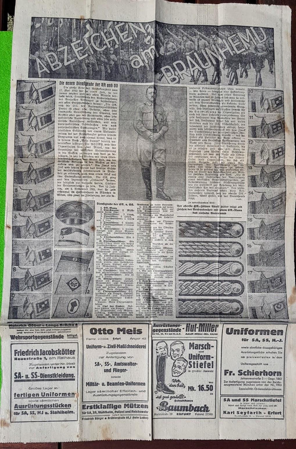 Thüringer Allgemeinen Zeitung vom 13. September 1933, SA-Dienstgrade und ihre Abzeichen; Anzeigen für SA- und SS-Uniformen