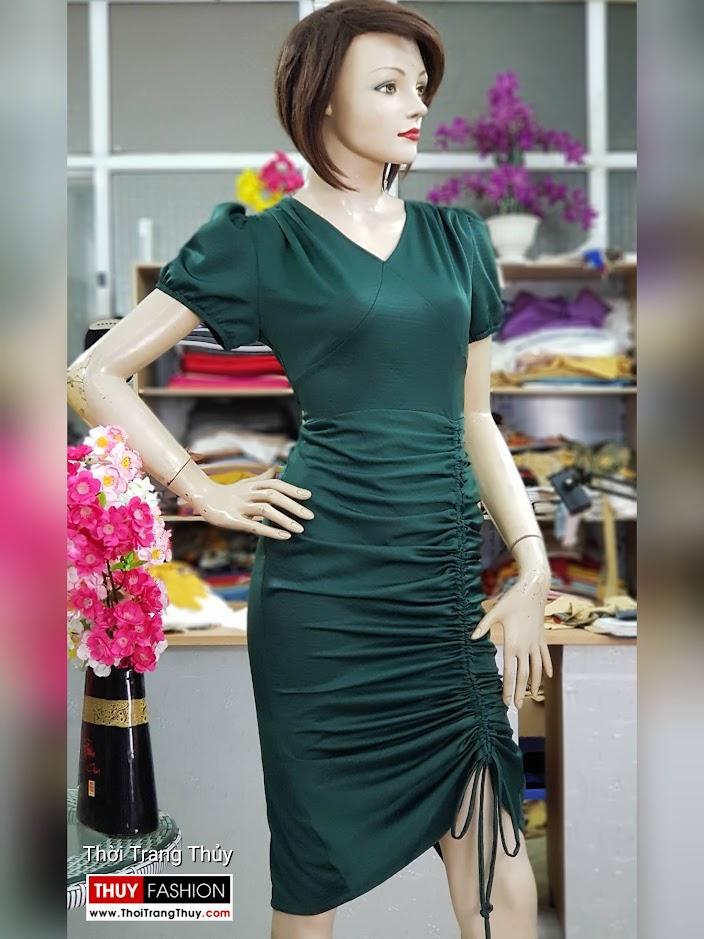 Váy dự tiệc dáng ôm body xếp nhún V721 thời trang thủy hà nội