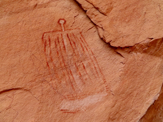 Red and white pictograph