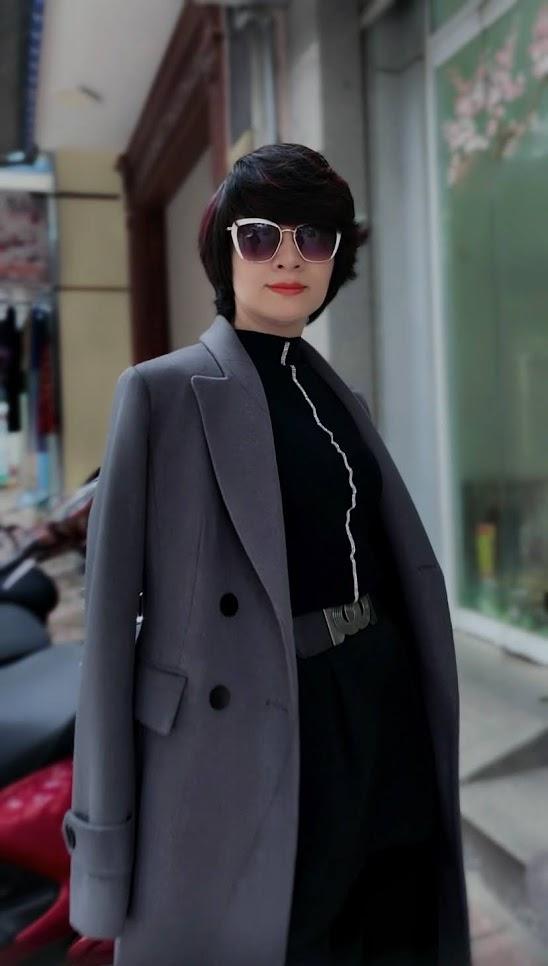 Áo khoác măng tô nữ vải dạ màu ghi xám V750 thời trang thủy sài gòn