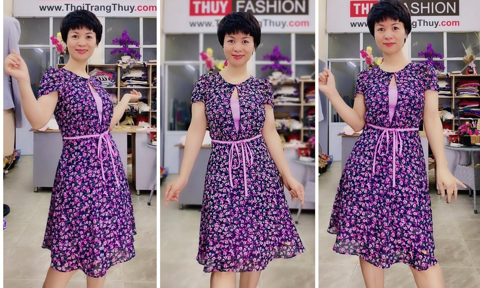 Váy xòe cổ tròn họa tiết hoa màu tím V727 thời trang thủy