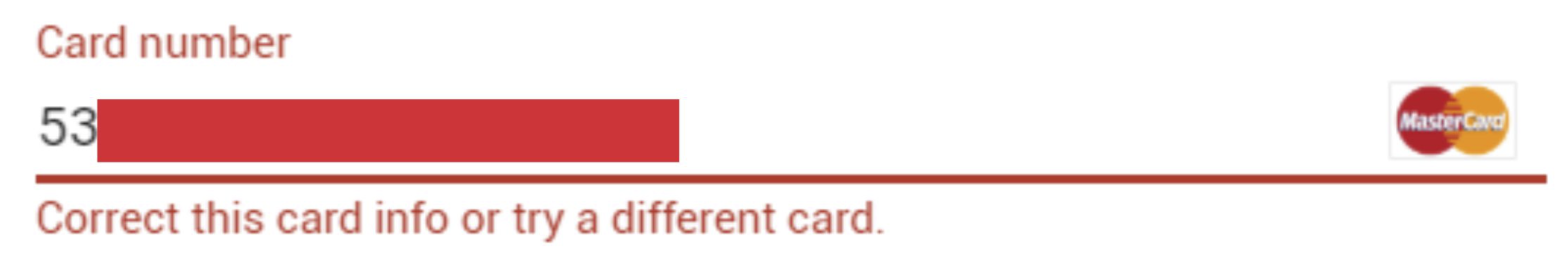 "Solved: How do I fix Google Play Store Payment Error ""Correct this card info or try a different card"" for Debit Card?"