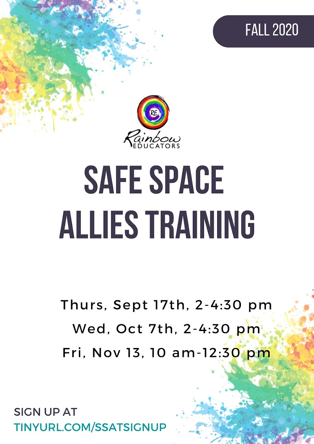Safe Space Allies Training flyer, multiple dates