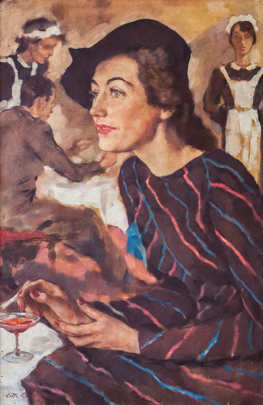 Leicester_Lotte-Laserstein_Woman_in_a_cafe_Lotte_Fischler_1939