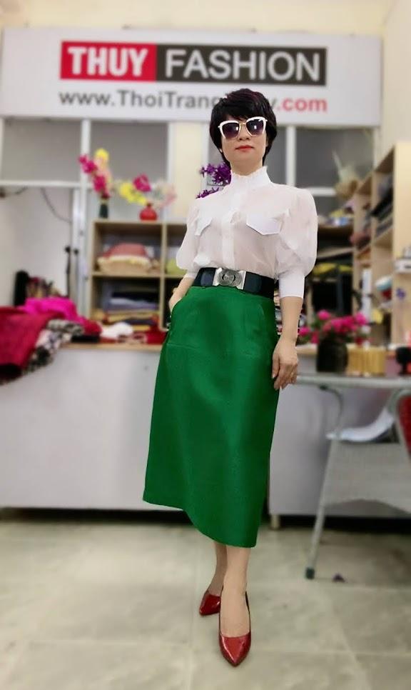 Áo sơ mi nữ tay bồng cao cổ và chân váy dài V751 thời trang thủy kiến an